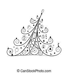 silueta, decoração, árvore, natal, desenho, seu