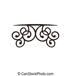 silueta, decorativo, ornamento, bordas, canto, desenho