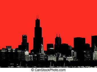 silueta del horizonte, chicago
