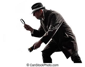 silueta, detective, investigations, hombre, criminal