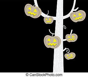 silueta, dia das bruxas, árvore