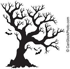 silueta, dia das bruxas, árvore, morcegos