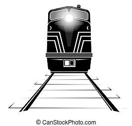 silueta, diesel, barandas, mudanza, por, locomotora