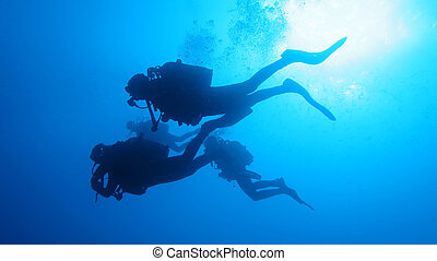 silueta, diving., escafandra autónoma