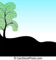 silueta, dos pájaros, en, un, árbol