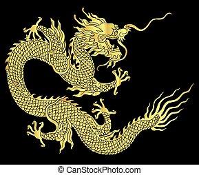 silueta, dragão chinês
