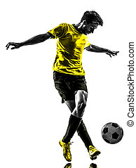 silueta, driblar, futebol, jovem, jogador, brasileiro,...
