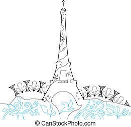 silueta, eiffel, ilustração, vetorial, ornate, torre
