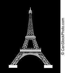 silueta, eiffel, ilustración, vector, negro, torre