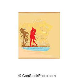silueta, el besarse de los pares, en, playa tropical