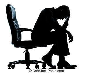 silueta, empresa / negocio, cansado, uno, desesperación,...