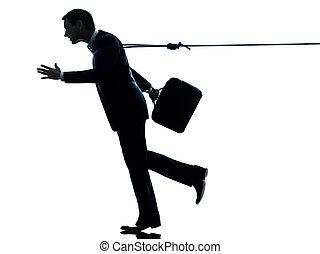 silueta, empresa / negocio, soga, catched, hombre, lazo