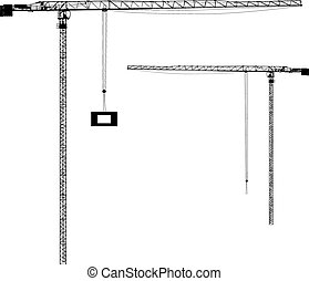 silueta, en, el, construcción, cranes., vector, ilustración
