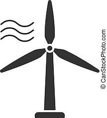 silueta, energia, branca, isolado, experiência., pretas, station., turbina, vento, ícone