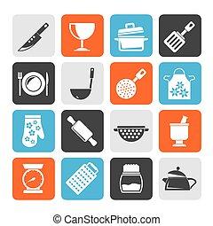 silueta, equipamento, ícones, cozinhar