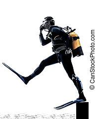 silueta, escafandra autónoma, aislado, hombre, buzo, buceo