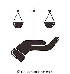 silueta, escala, icono, elevación, balance, estilo, mano