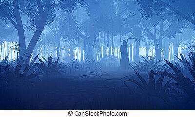 silueta, escalofriante, segadora, bosque, noche, severo