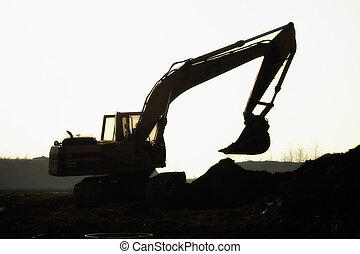 silueta, escavador