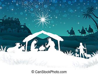 silueta, escena, natividad, blanco, magi