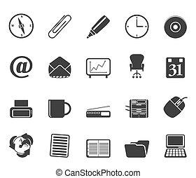 silueta, escritório, ferramentas, ícones
