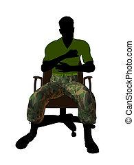 silueta, escritório, sentando, ilustração, soldado, cadeira,...