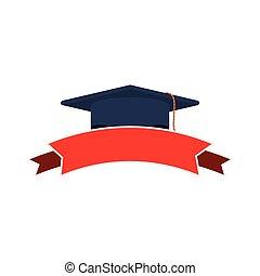 silueta, escuro azul, boné graduação, e, fita vermelha