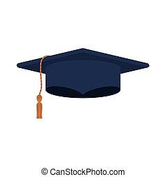 silueta, escuro azul, boné graduação