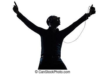 silueta, escutar música, retrato, feliz, homem