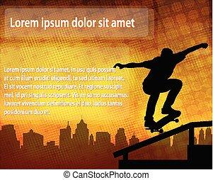 silueta, espacio, texto, encima, plano de fondo, skateboarder, resumen
