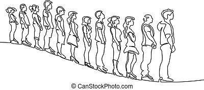 silueta, esperando, grupo, linha, pessoas