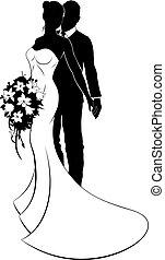 silueta, esposa, noivo, noiva, casório, marido