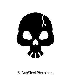 silueta, estilo, cabeça, quebrada, cranio, mortos