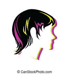 silueta, estilo cabelo, rosto