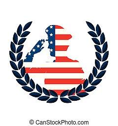 silueta, eua, grinalda, bandeira, saudando, militar