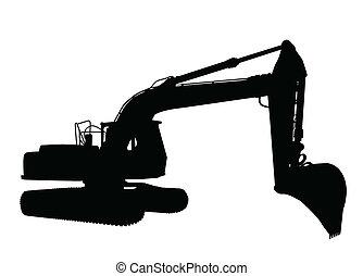 silueta, excavador
