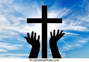 silueta, extendido, cruz, manos