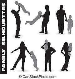 silueta, família, feliz