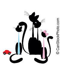 silueta, -, família preta, gato