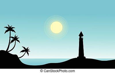 silueta, farol, praia