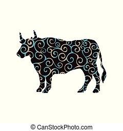 silueta, fazenda, padrão, espiral, cor, touro, mamífero, búfalo, animal.