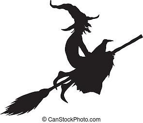 silueta, feiticeira halloween
