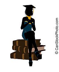 silueta, femininas, ilustração, graduado