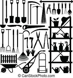 silueta, ferramentas ajardinando