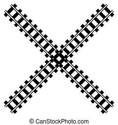silueta, ferrocarril, camino del carril, w, pista, ilustración
