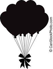 silueta, festivo, arco, pretas, balões, grupo