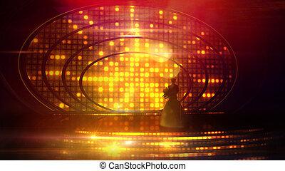 silueta, festivo, contra, femininas, iluminação, fase