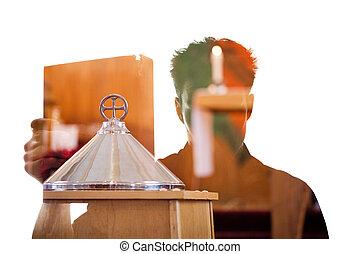 silueta, figura, mostrando, livro, religiosas, homem
