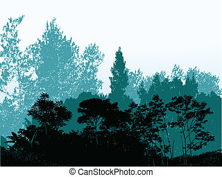 silueta, floresta, fundo