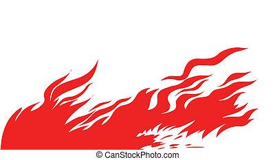 silueta, fogo, vetorial, fundo, branco vermelho
